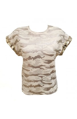 Foil Camouflage Top Gold