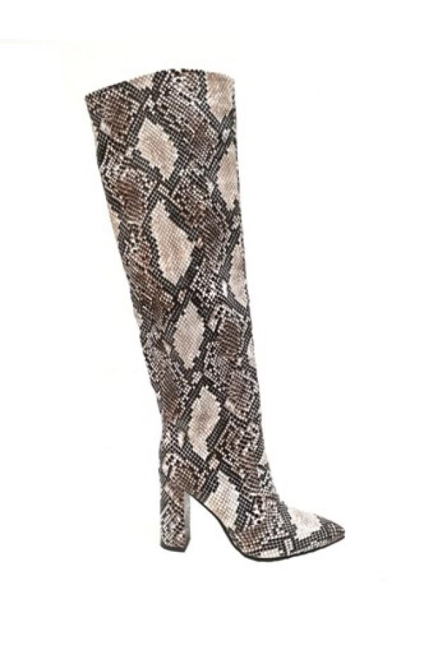 Snake Print Tall Boot Black