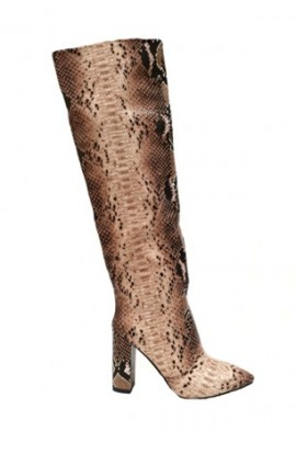 Snake Print Tall Boot Beige