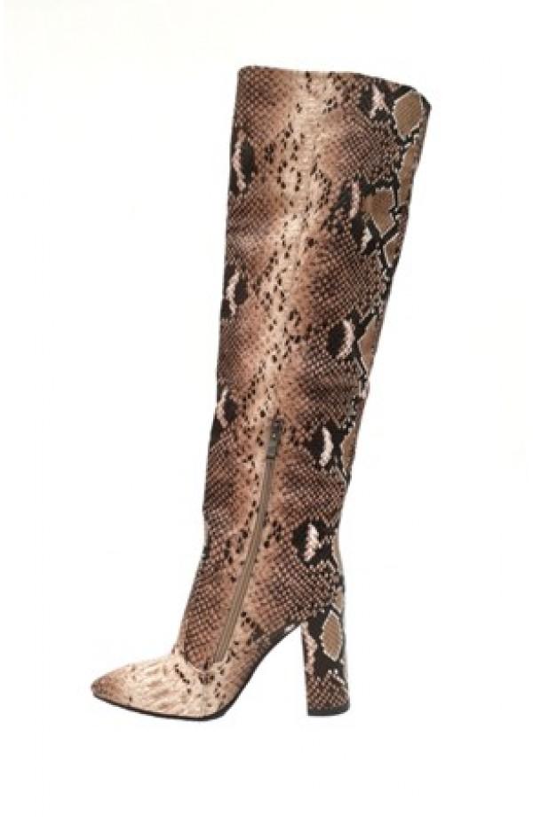 Snake Print Tall Boot Beige
