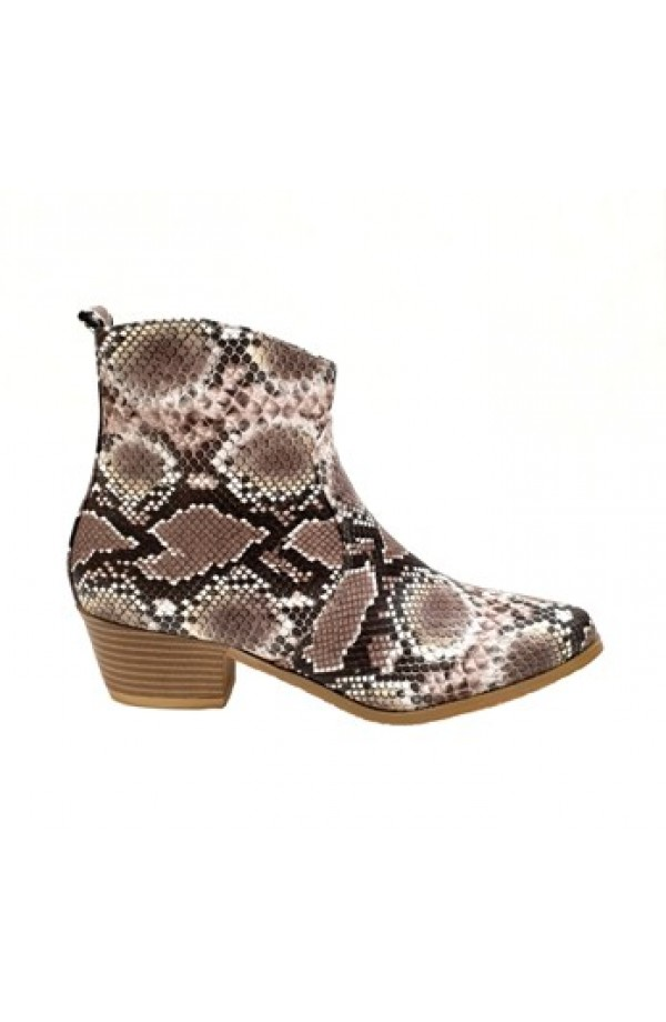 Snake Print Ankle Boot Beige