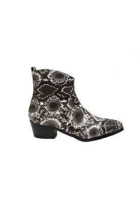 Snake Print Ankle Boot Black
