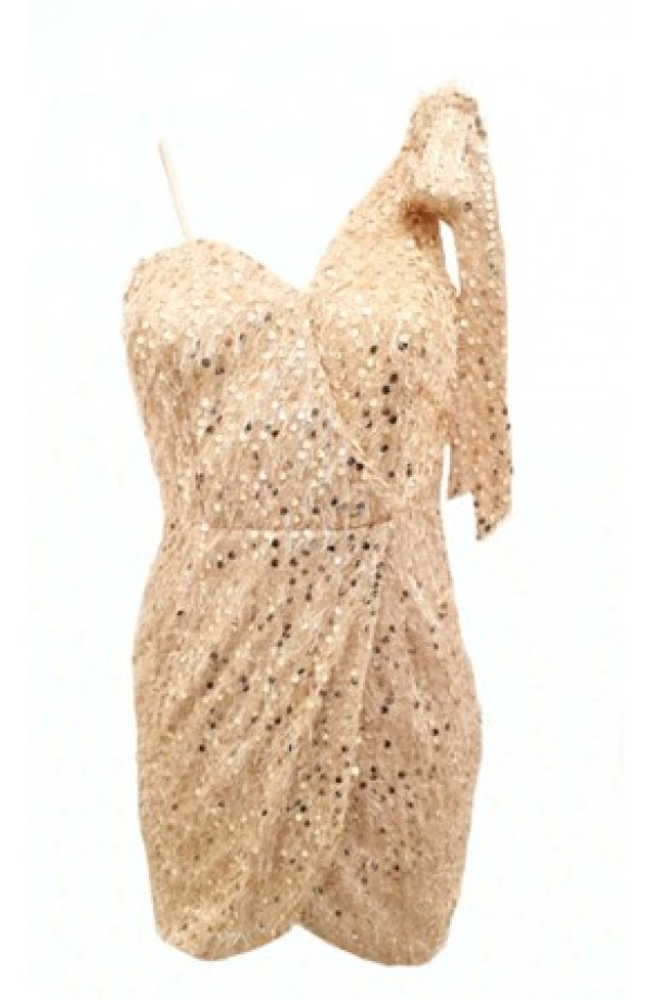 Sequin Tie Shoulder Dress