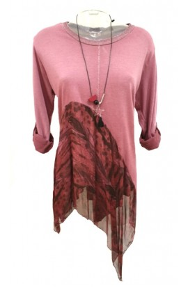 Silk Trim Top With Necklace