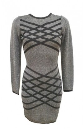 Bandage Bodycon Dress Silver