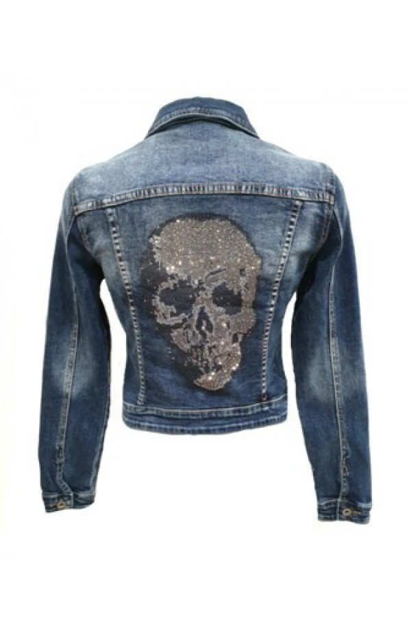 Skull Back Denim Jacket