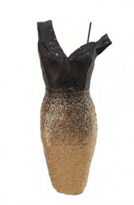 Sequin Lapel Dress Gold