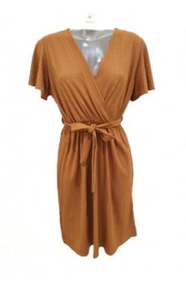 Short Wrap Look Dress Tan