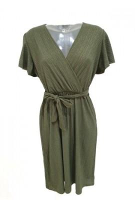 Short Wrap Look Dress Khaki