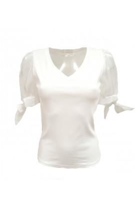 Chiffon Sleeve Top White