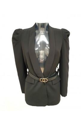 Belted Puff Sleeve Blazer Black