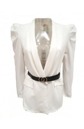 Belted Puff Sleeve Blazer White