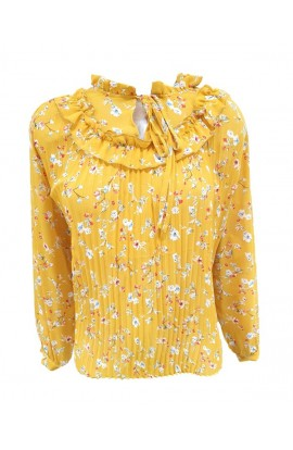 Yellow Floral Pleated Blouse