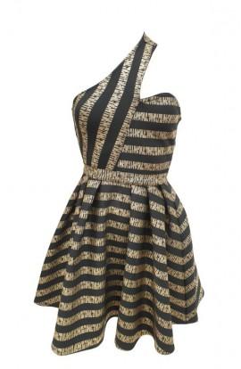 One Shoulder Dress Gold