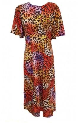 Frill Sleeve Leopard Midi Dress