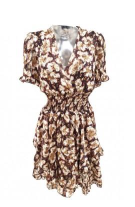 Flower Print & Gold Dot Ruffle Hem Dress