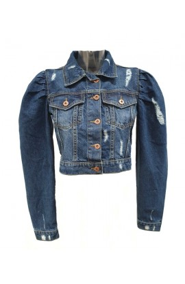Cropped Denim Jacket Blue