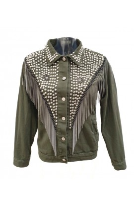 Tassel and Stud Jacket Khaki
