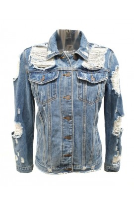 Distressed Denim Jacket Blue