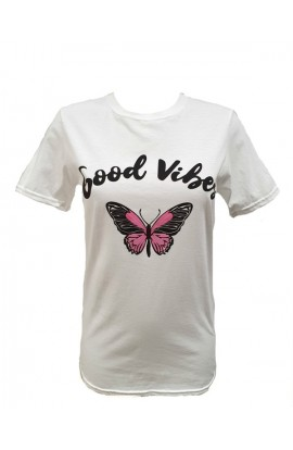 Good Vibes Top White