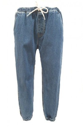 Gathered Waist and Ankle Jeans