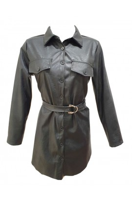Button Up  Shirt Dress Black