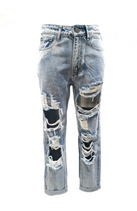 Shredded Front Jeans