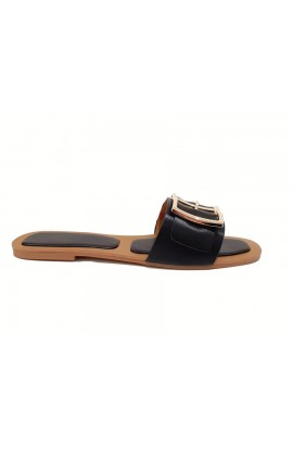 Buckle Detail Slider Black