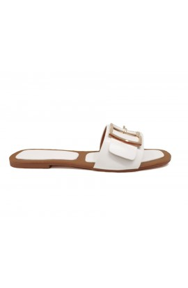 Buckle Detail Slider White