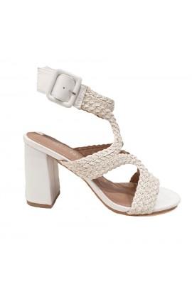 Woven Strap Block Heel White