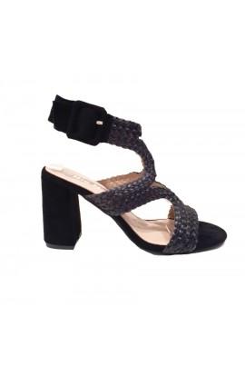 Woven Strap Block Heel Black
