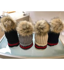 Stripe Faux Fur Pom Pom Hat