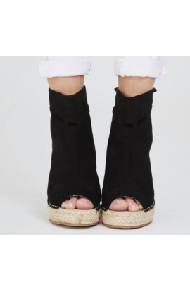 Suedette Wedges Black