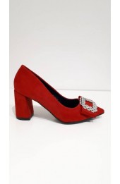 Buckle Front Block Heel Red
