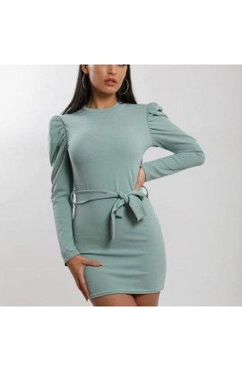 Puff Sleeve Tunic Green