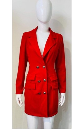 Long Length Blazer Red