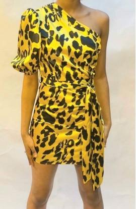 One Sleeve Mini Leopard Print Dress Yellow