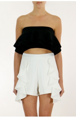 Frill Crop Top Black