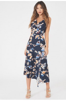 Cowl Neck Floral Dress Navy