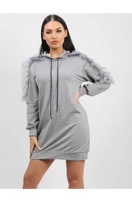 Frill Sleeve Long Hoodie Grey
