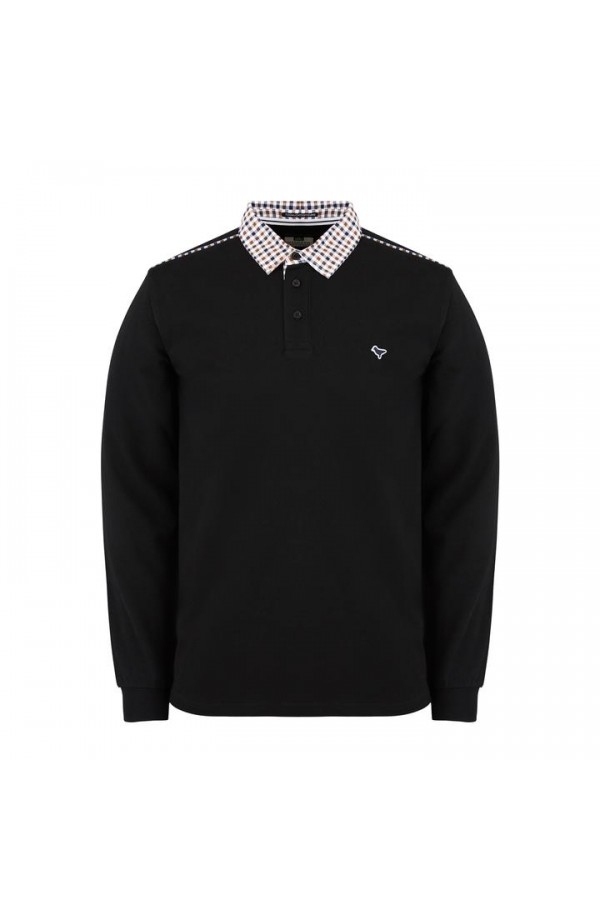 Bentvena Long Sleeve Polo Shirt Black
