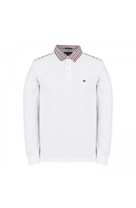 Bentvena Long Sleeve Polo Shirt White