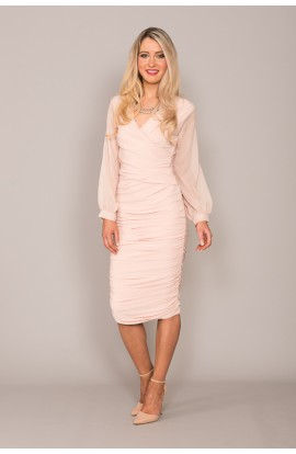 Argon Bell Sleeve Dress Blush