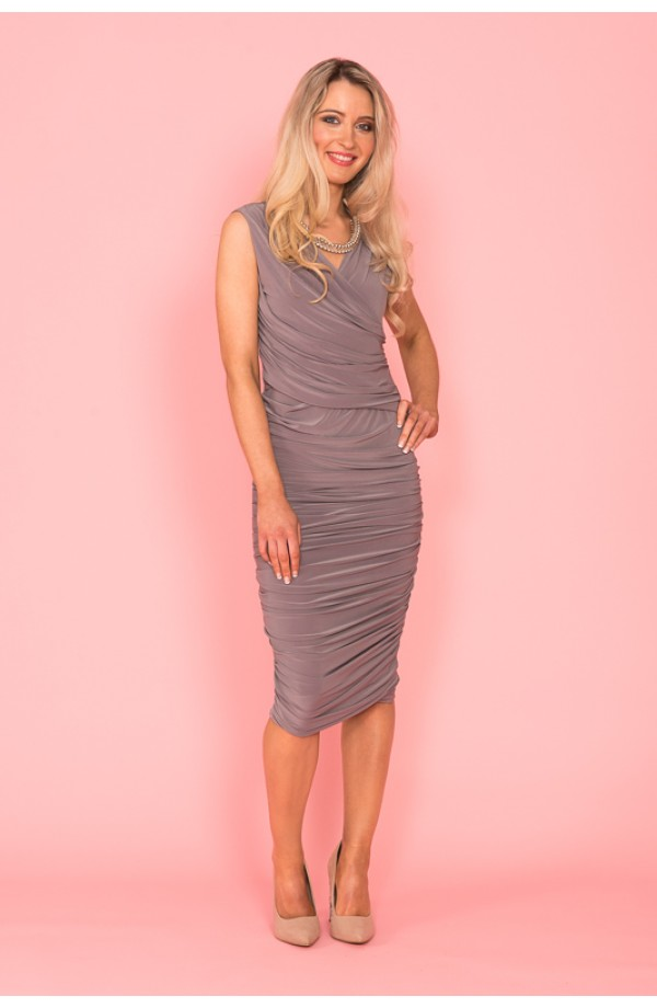 Argon Sleeveless Dress Taupe