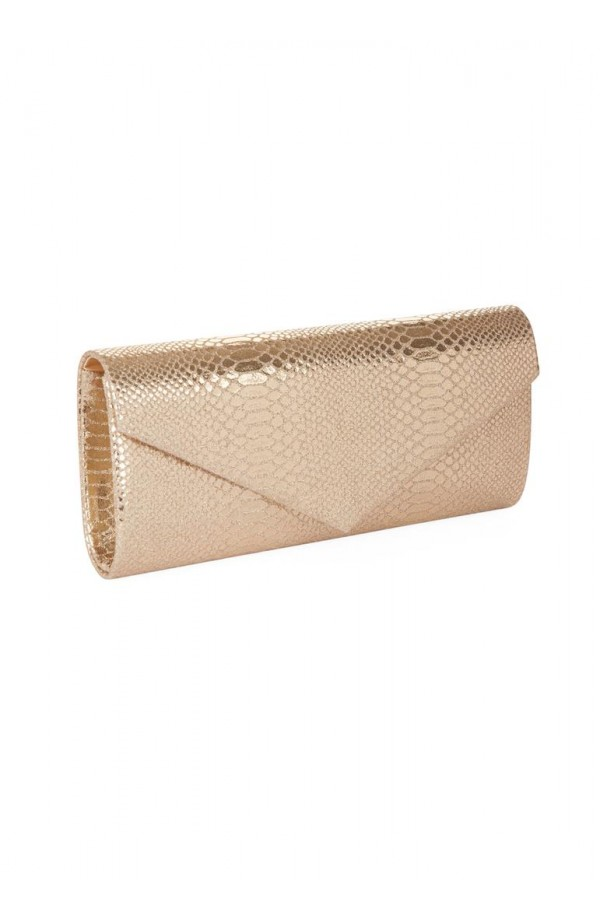 Metallic Python Clutch Gold