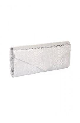 Metallic Python Clutch Silver