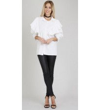 Ruffle Shoulder Shirt Cream