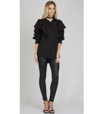 Ruffle Shoulder Shirt Black