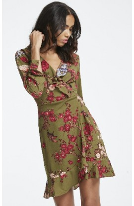 Frill Collar Forest Print Dress