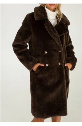 Faux Fur Double Breasted Coat Brown